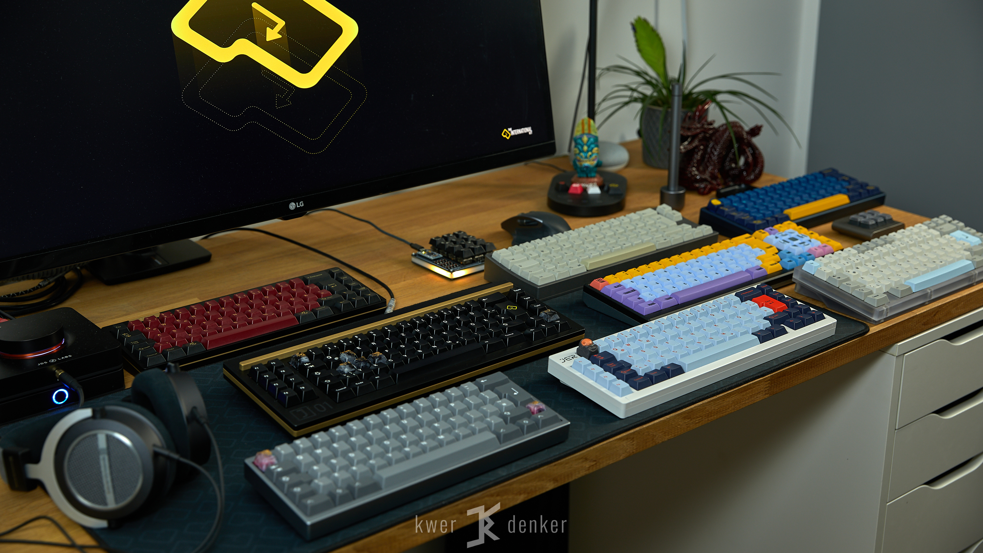 Keyboard collection on a desk
